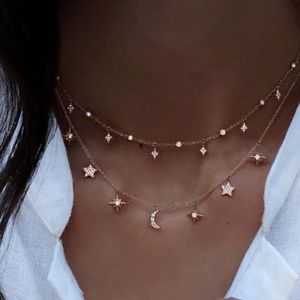Sparkle star moon double layer Choker necklace